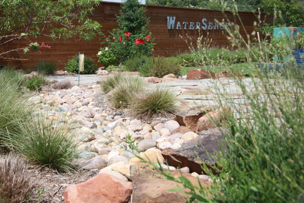 View of water-saving landscaping at Water University