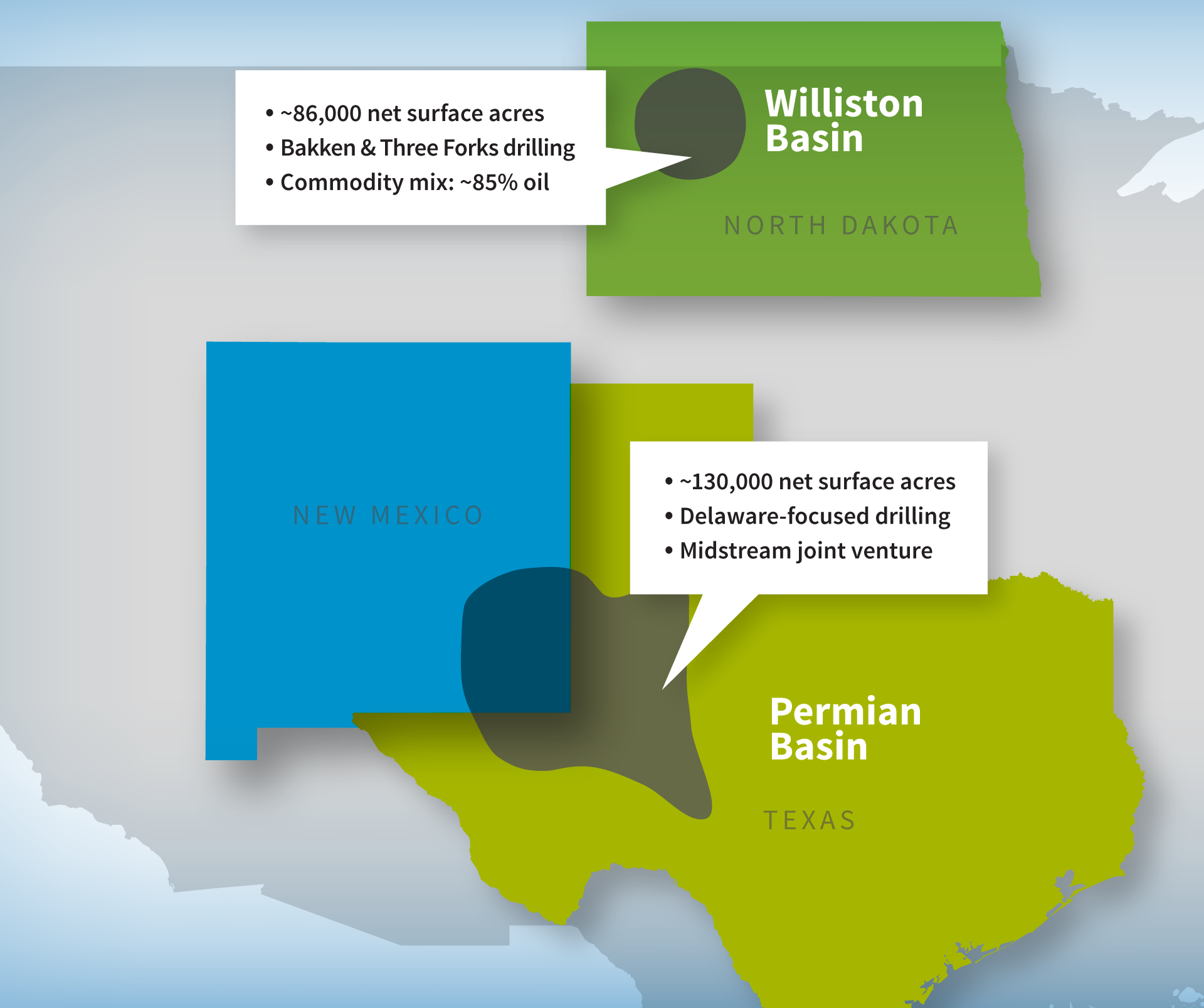 WPX has 100,000 net acres in the core of the Permian's Delaware Basin. The majority of this land is located in Loving County, Texas, and Eddy County, N.M. These assets have existing production from 10 of 13 prospective benches in the Delaware play.