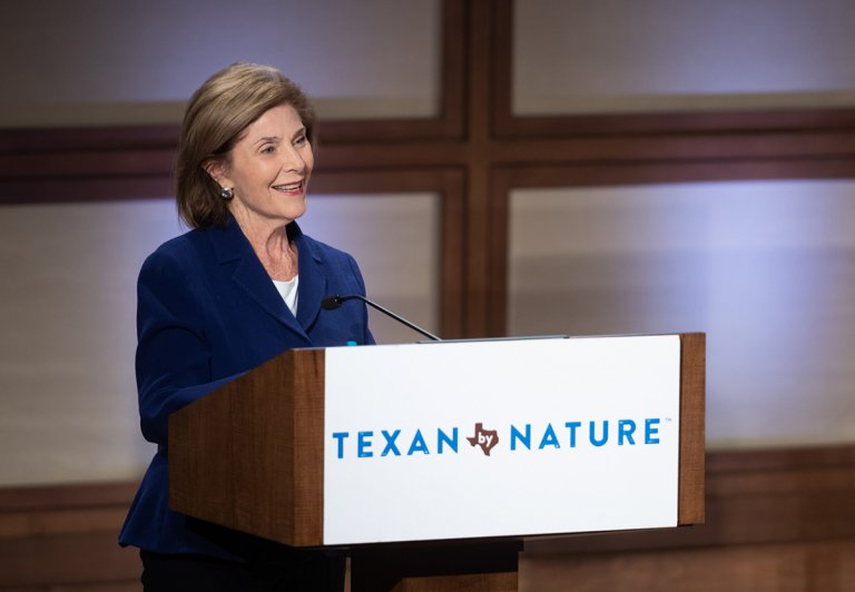 Former First Lady and Texan by Nature Founder, Laura W. Bush, speaking at our rescheduled 2020 Conservation Summit - by Grant Miller